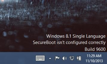 Windows 8.1 SecureBoot isn't configured correctly watermark error