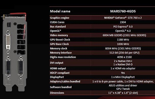 asus gtx 760 mars specifications