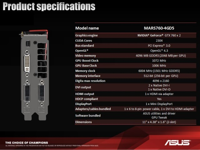 Asus ROG MARS760-4GD5 Specifications
