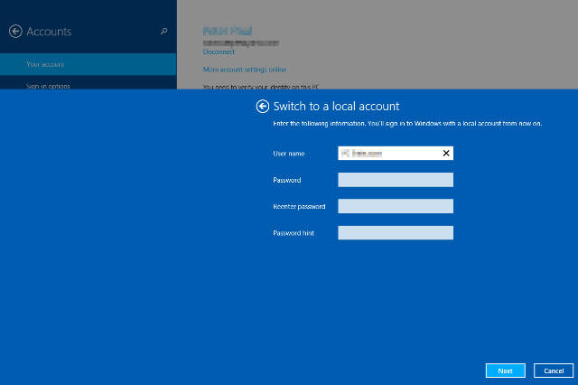 how to use local or offline account in windows 8.1