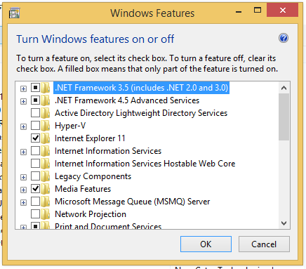 dotNet Framework 3.5 activate in Windows 8 and 8.1