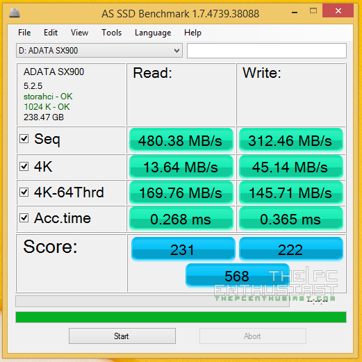 AS SSD Benchmark ADATA XPG SX900 256GB SSD review