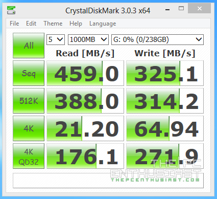 CrystalDiskMark 64bit ADATA XPG SX900 256GB SSD review