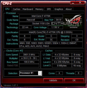 Intel Core i7 4770k Turbo CPUZ