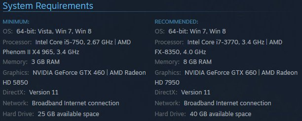 Middle-earth Shadow of Mordor PC System Requirements