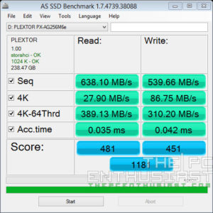 Plextor PX-AG256M6e AS SSD Benchmark