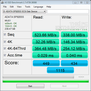 ADATA SP920 AS SSD benchmark01