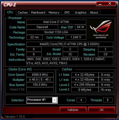 Asus ROG M7 Formula CPUz 4.6GHz 1.25v