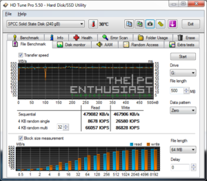 Silicon Power S60 240GB SSD HD Tune Pro File Benchmark