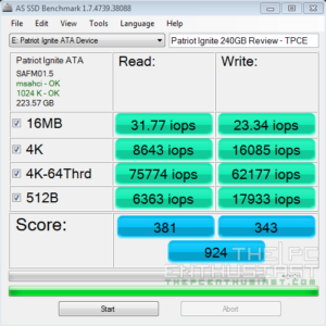 Patriot Ignite SSD AS SSD IOPs Benchmark