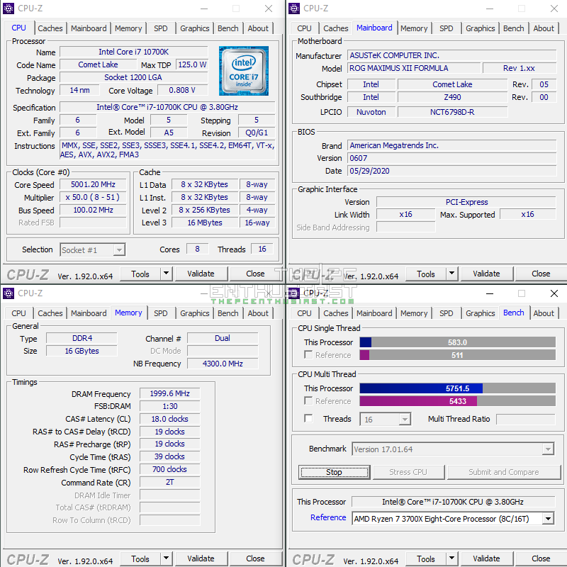 intel core i7-10700k cpu-z
