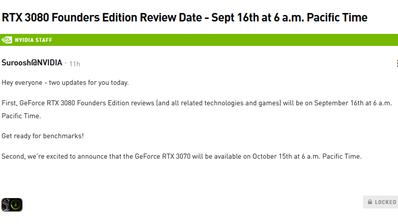 nvidia geforce rtx 3070 release date