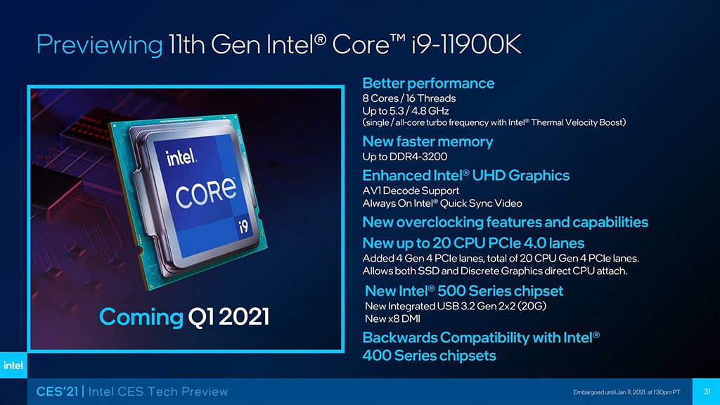 intel core i9-11900k features