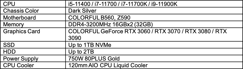 colorful igame m600 mirage gaming pc specs